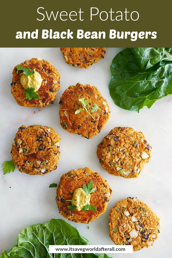 image of sweet potato black bean patties with a green text box on top