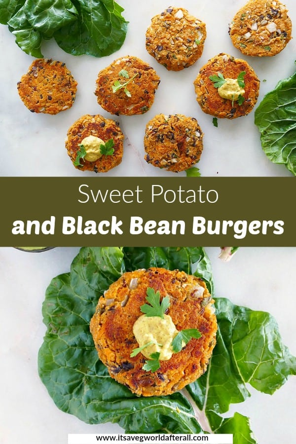 images of sweet potato black bean burgers separated by a text box with recipe title