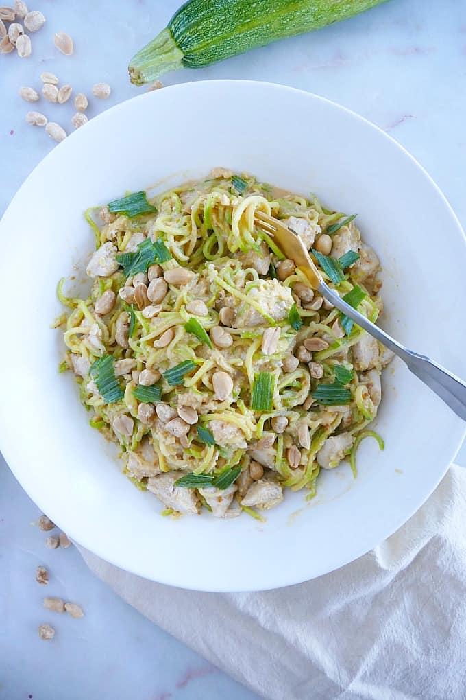 creamy peanut zucchini noodles