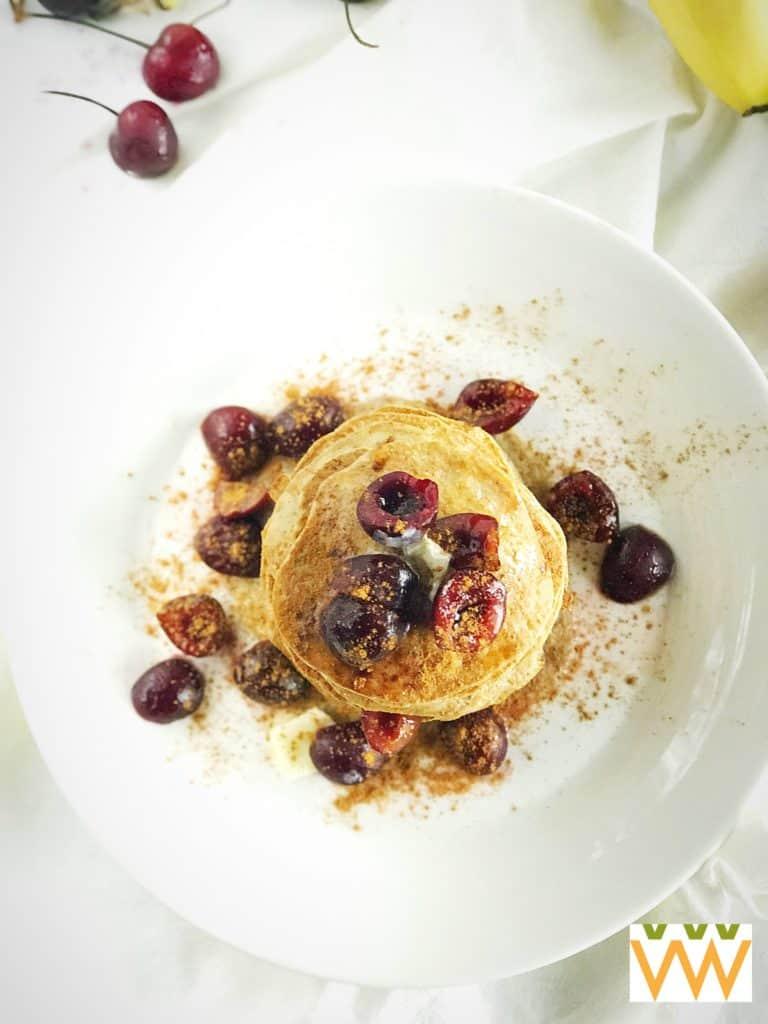 flourless pancakes above shot