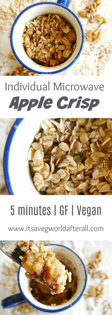 three images of Vegan and gluten-free single serve microwave apple crisp separated by text boxes