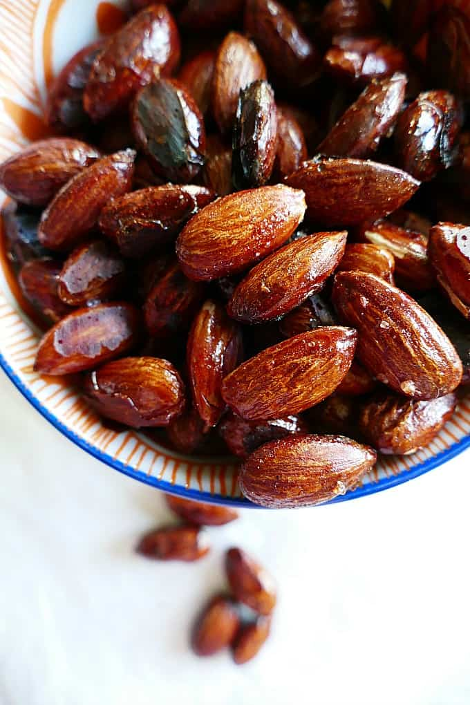 Vegan, gluten-free, and paleo maple roasted almonds