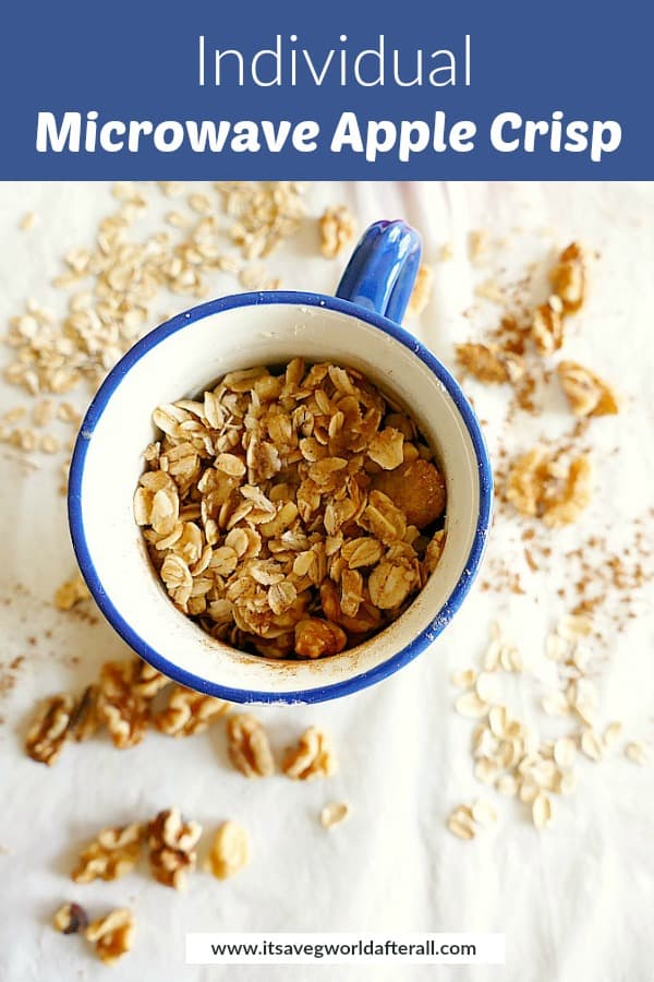 image of microwave apple crisp in a mug with text box with recipe title on top