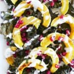 Roasted delicata squash and kale with lemon tahini