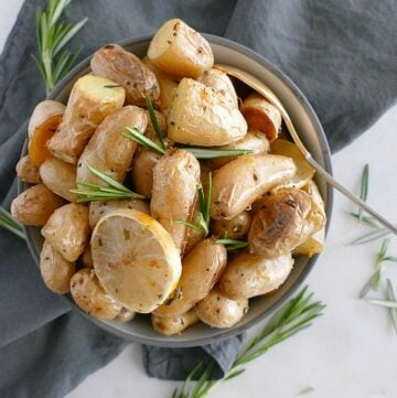 Lemon rosemary roasted fingerling potatoes. Vegan, gluten-free, paleo.
