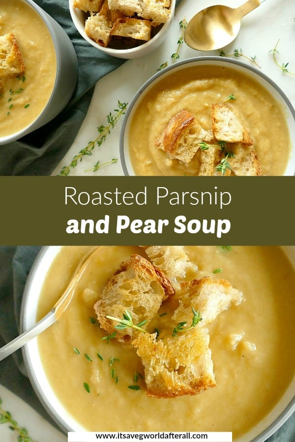 images of parsnip and pear soup separated by a text box with recipe title