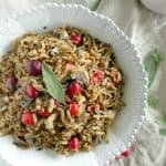 Vegan gluten-free wild rice mushroom pilaf with cranberries