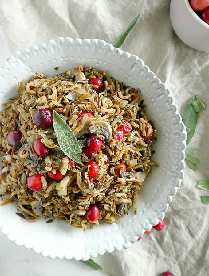 Vegan gluten-free wild rice mushroom pilaf with cranberries