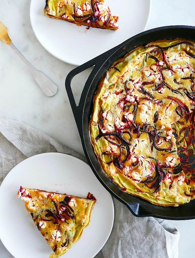 beet and goat cheese frittata