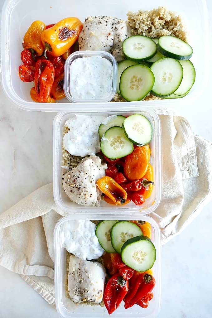 Easy greek chicken and veggie meal prep bowls