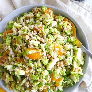 Winter salad with brussels sprouts and farro