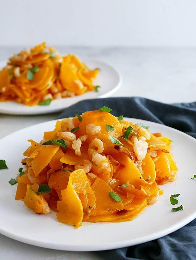 Garlic Lemon Butternut Squash Noodles and Shrimp