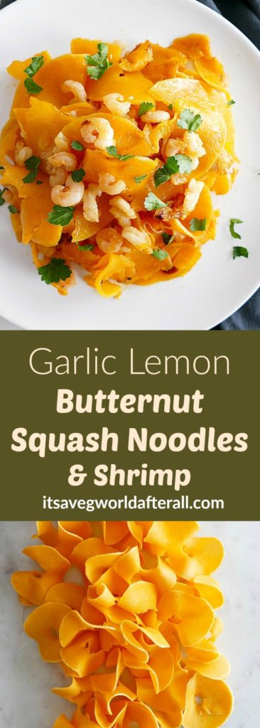 Garlic Lemon Butternut Squash Noodles and Shrimp