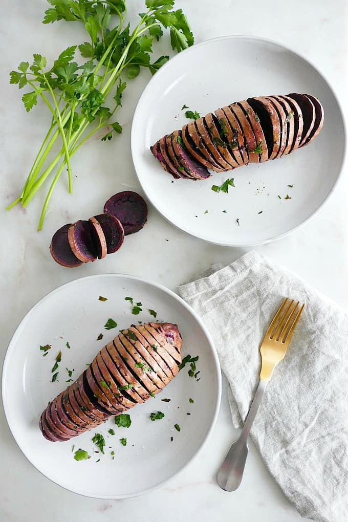 Hasselback Purple Sweet Potatoes