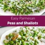 two photos of a pea side dish with a purple text box in the middle