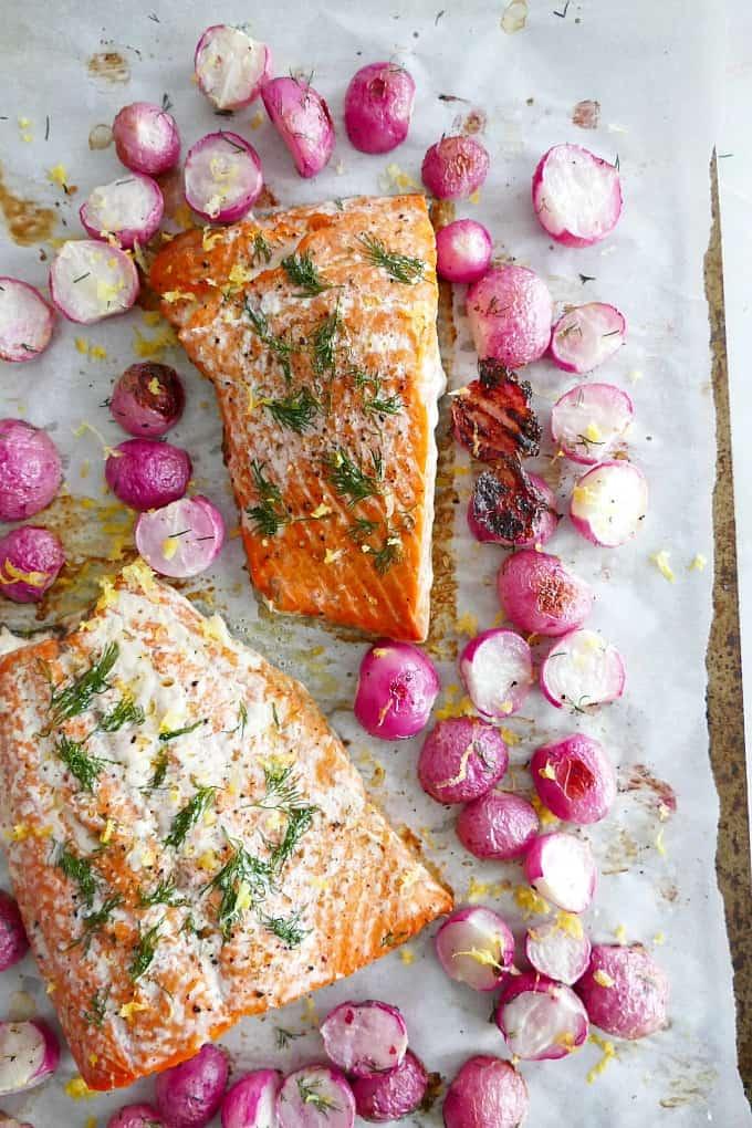 Sheet Pan Dill Radishes and Salmon