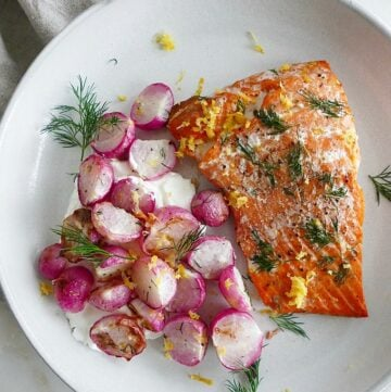 Sheet Pan Dill Radishes and Salmon