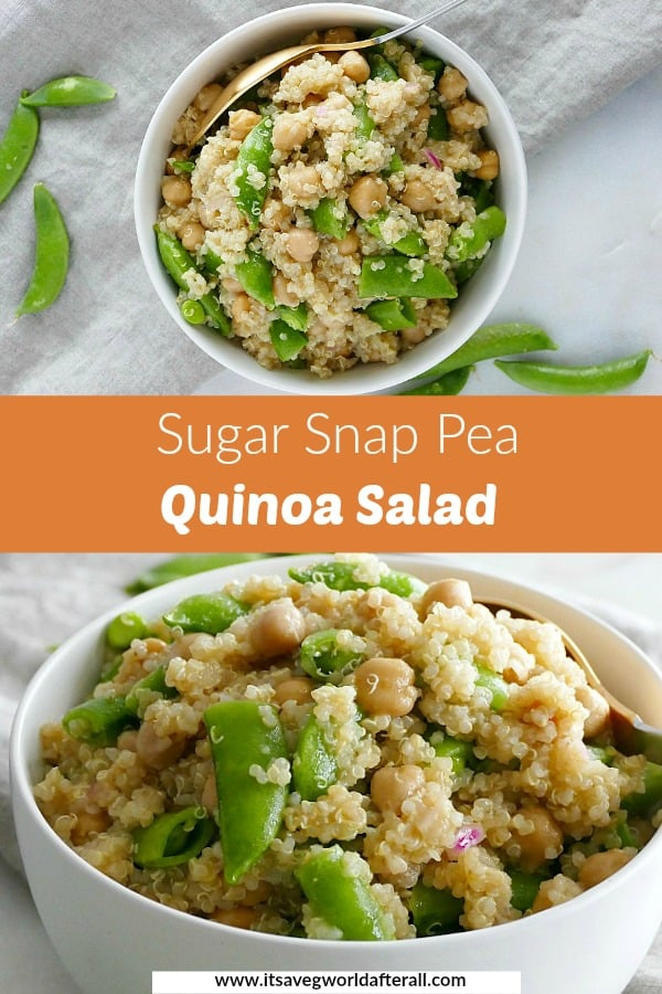 two images of pea and quinoa salad with an orange text box in between