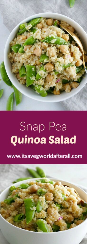 images of snap pea quinoa salad separated by a purple text box