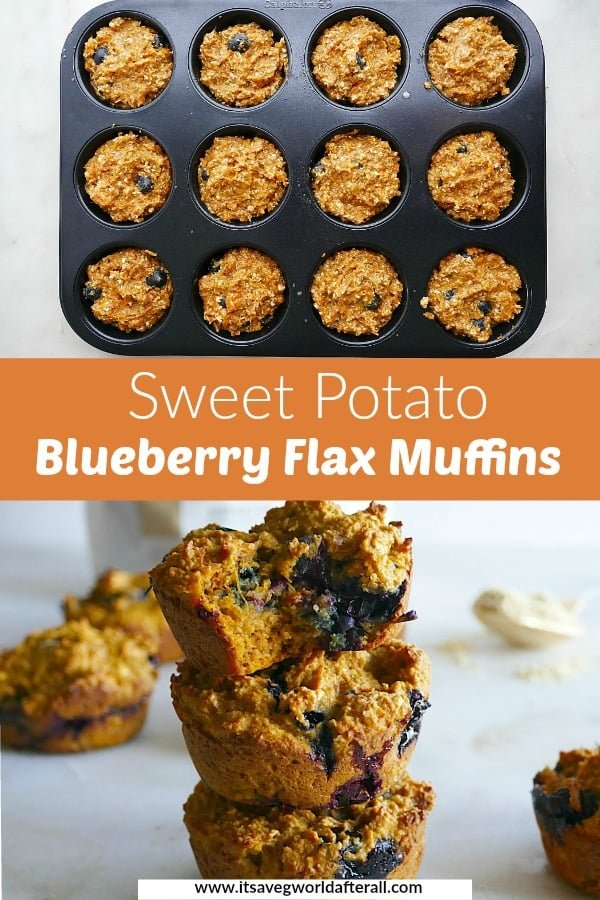 two images of sweet potato muffins separated by an orange text box