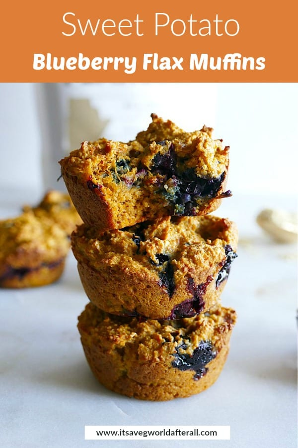 three sweet potato blueberry muffins stacked on top of each other with an orange text box