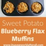 two images of muffins separated by an orange text box with recipe title