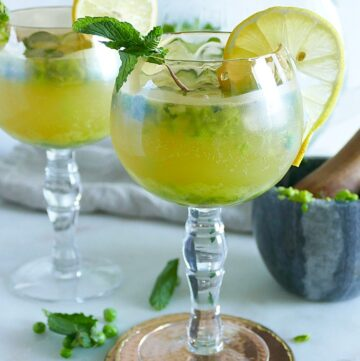 Muddled Pea and Mint Kombucha Mocktails