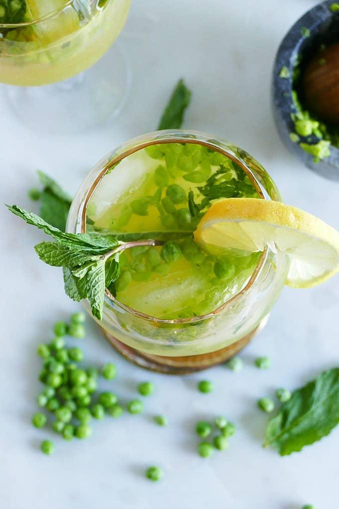 Muddled Pea and Mint Kombucha Mocktails