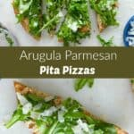 two photos of a pita pizza with arugula on top separated by a text box