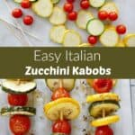 images of kabob ingredients and cooked veggie skewers with a text box in between