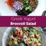 photos of broccoli salad ingredients and finished recipe with a text box in between