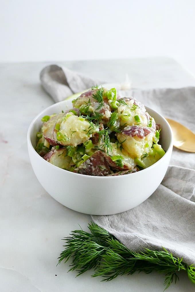 healthy scallion dill potato salad
