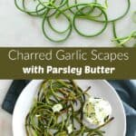 photos of raw and grilled garlic scapes separated by a text box