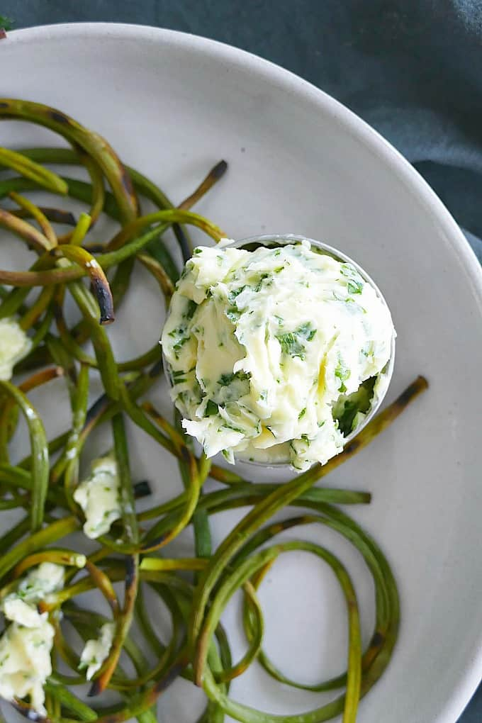 charred garlic scapes