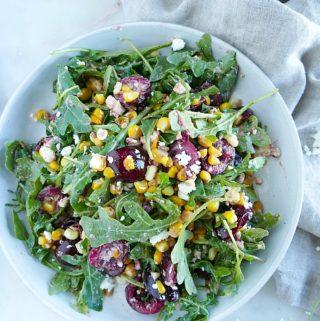 sweet corn and cherry arugula salad