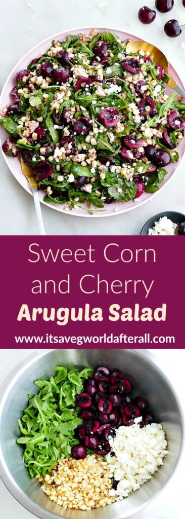 images of cherry arugula salad separated by a purple text box