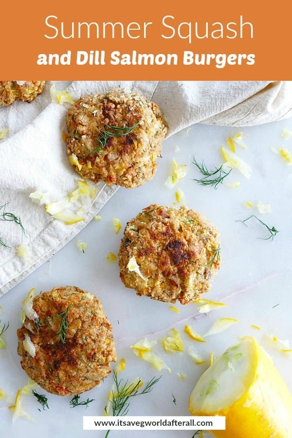 photo of dill salmon burgers with orange text box with recipe title