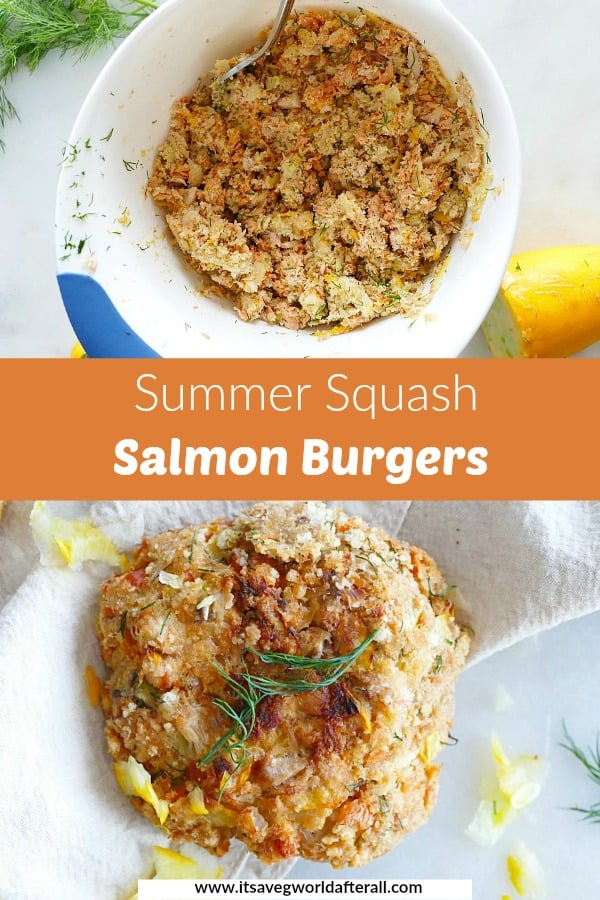 images of salmon burger ingredients and finished meal with a text box