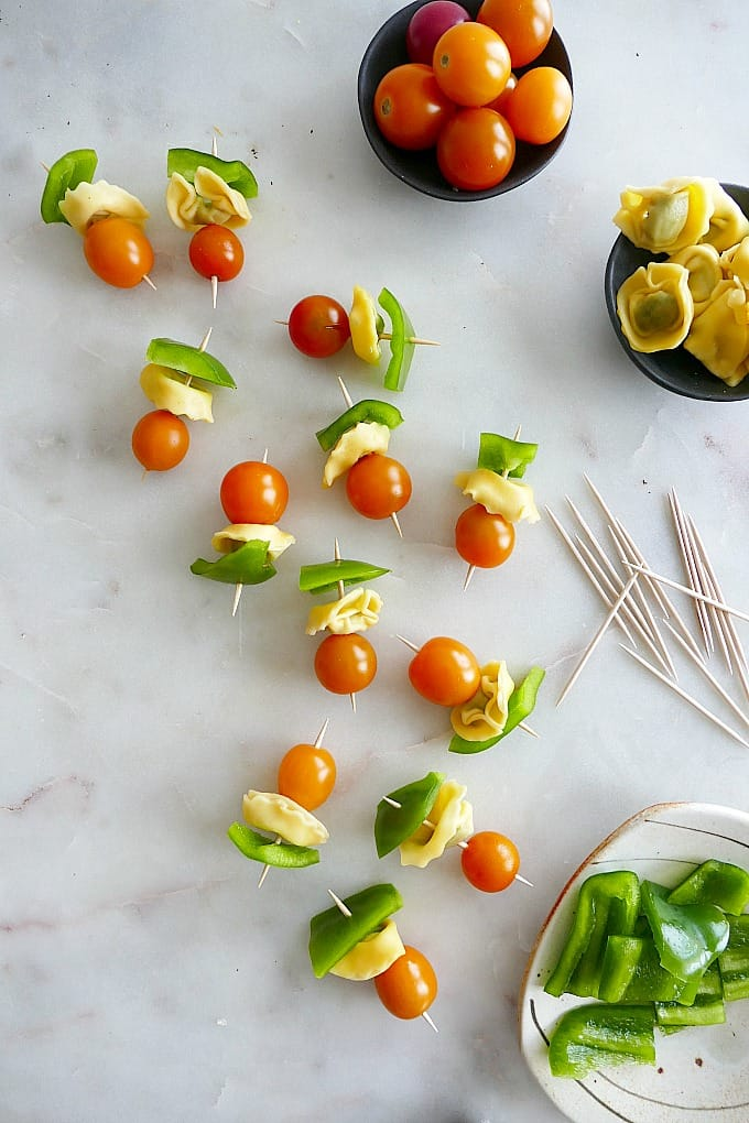 Lunchbox Tomato, Pepper and Tortellini Skewers