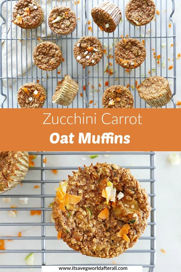 images of muffins separated by an orange text box with recipe title