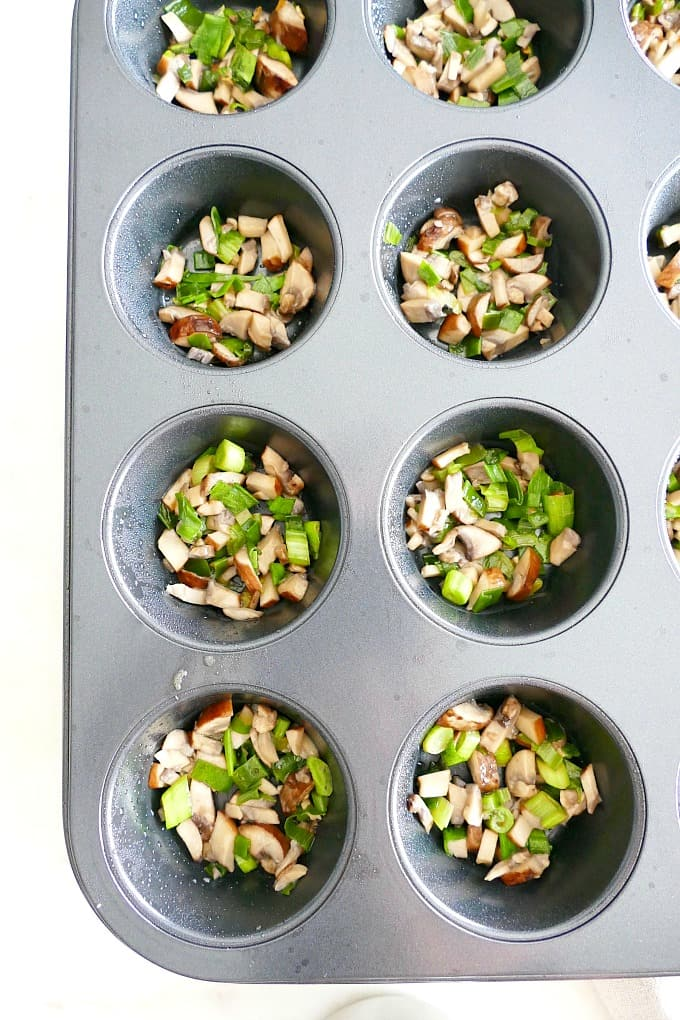 Healthy Breakfast Egg Muffins with Mushrooms and Scallions