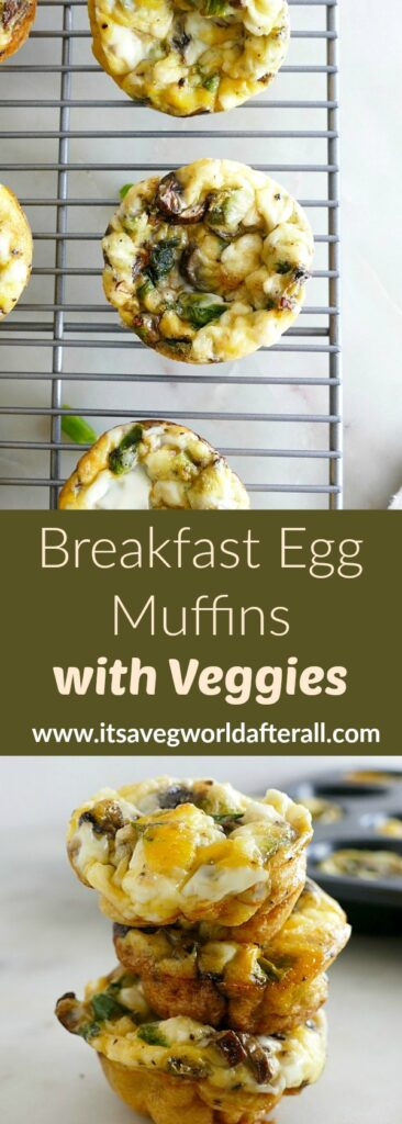 images of breakfast egg muffins separated by a text box with recipe title