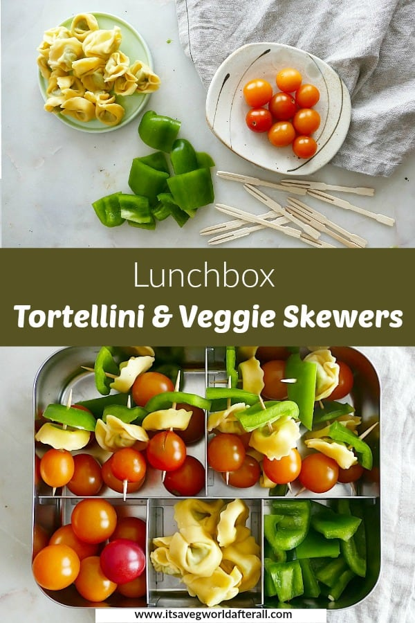images of lunchbox skewers separated by a green text box with recipe title