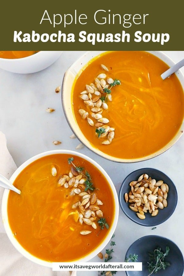 image of two bowls with kabocha squash soup with a text box with recipe title