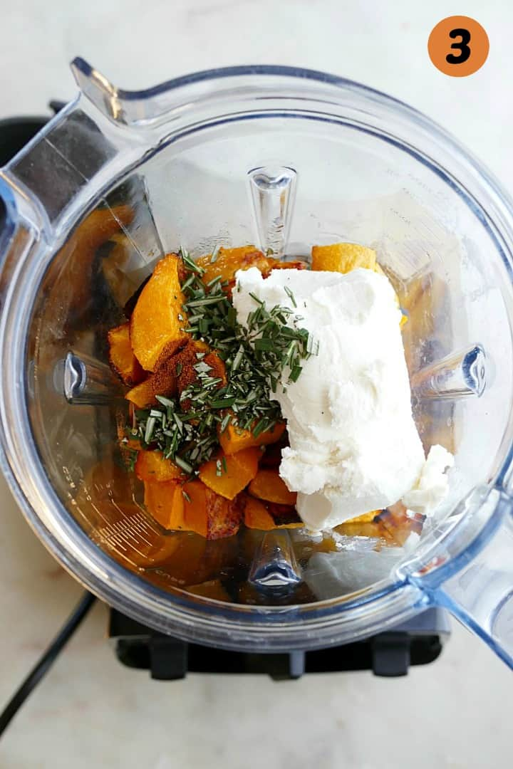 butternut squash, goat cheese, rosemary, and nutmeg in a vitamix blender