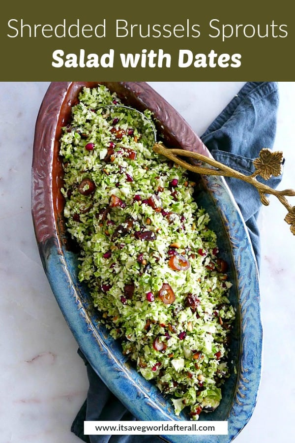 images of shredded Brussels sprouts salad separated by a text box with recipe title
