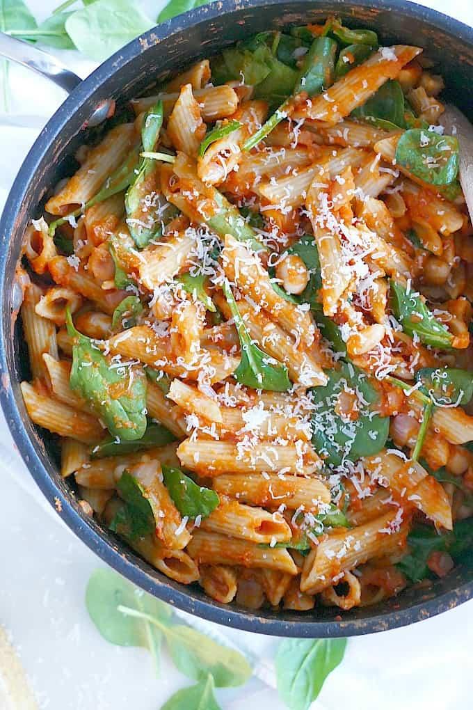 Pumpkin tomato pasta in a pot