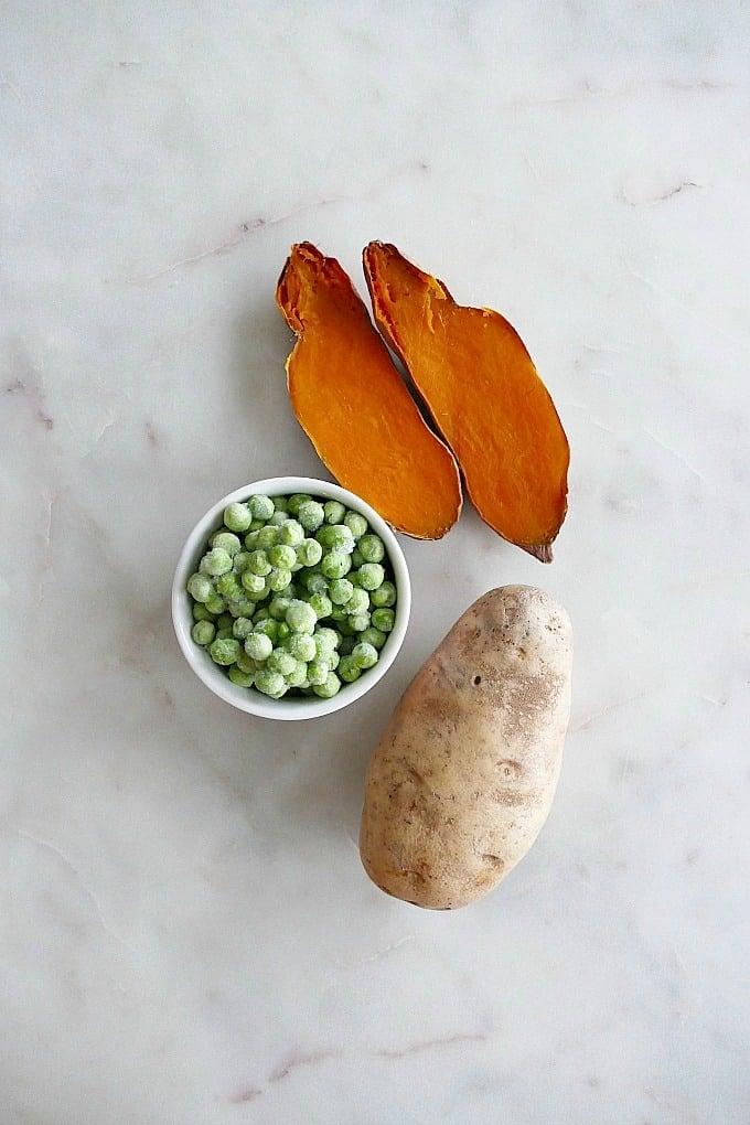 sweet potatoes, peas, and potatoes