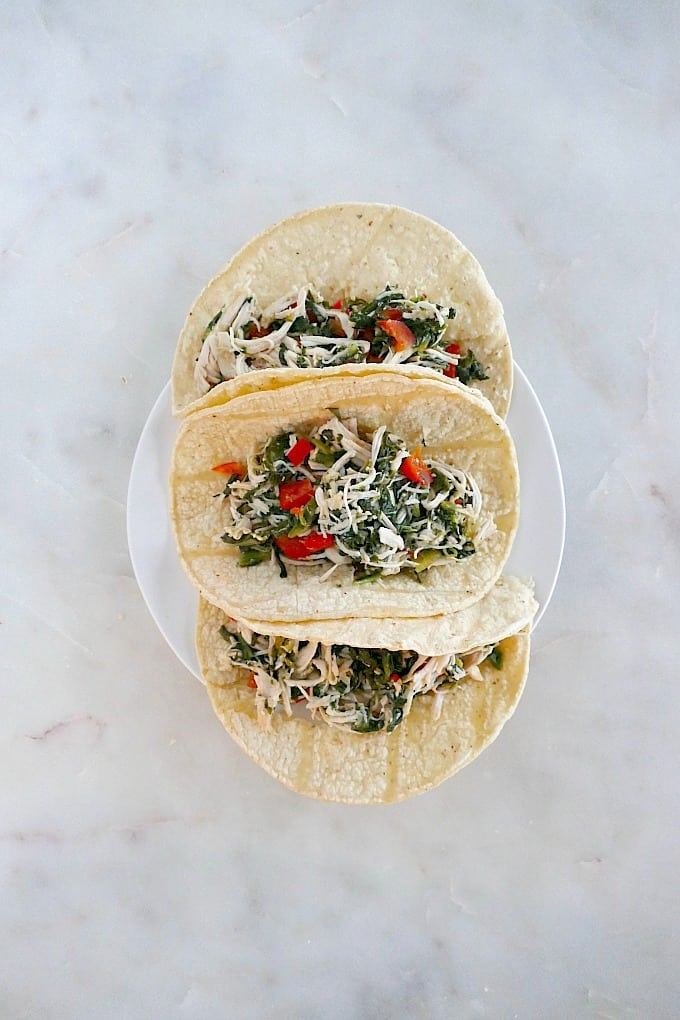 Slow Cooker Mexican Chicken on tacos
