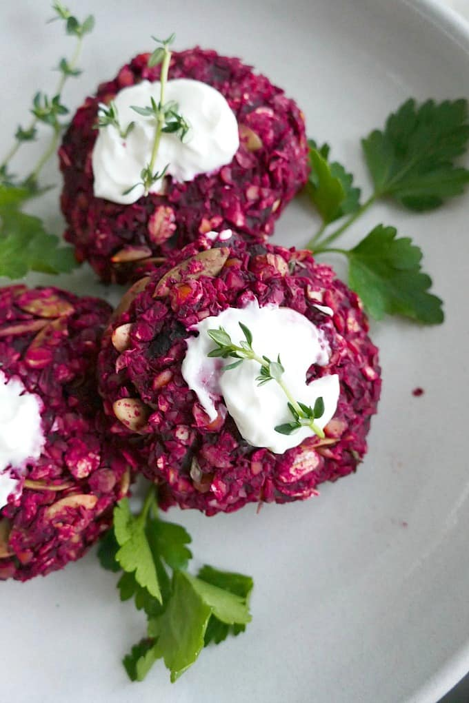 close up of beet and green lentil cakes